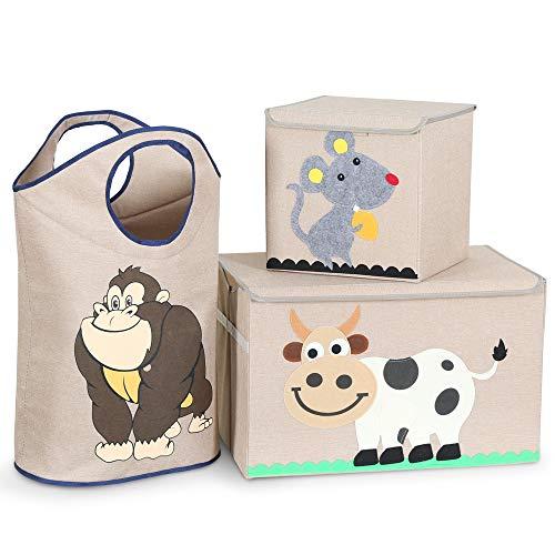 Tribesigns 3er-Set Aufbewahrungsbox, Waschbar Cartoon Aufbewahrungskiste Aufbewahrungswürfel Faltbare Spielzeug mit Deckel für Kinderzimmmer, Kinderspielzeug (2 Aufbewahrungsboxen + 1 Wäschekorb)