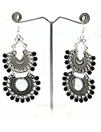 New German Silver Earring With Black Beads