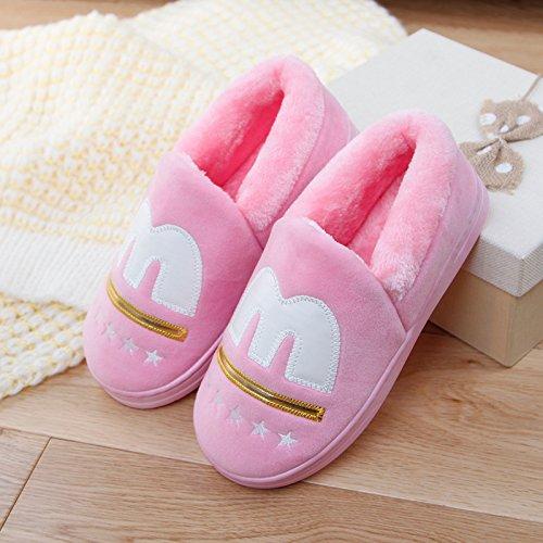 DogHaccd pantofole,Un paio di spessore caldo inverno soggiorno home il cotone pantofole pacchetto femmina con pantofole maschio base antiscivolo morbida Rosa viola3