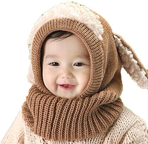 Tefamore Invierno 2016 Lana tibia Coif Hood Casquillos Gorras bebés niños Chicas Chicos (Caqui)