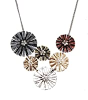Mixed Metal Daisy Flower Statement Necklace (in an Organza Gift Pouch ) Fashion Jewellery