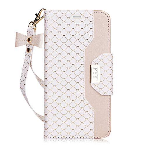 fyy iPhone 6S Plus Tasche, Premium PU Leder Geldbörse Fall mit Kosmetik Spiegel und Schleife Gurt für iPhone 6S Plus/6Plus, weiß (Schleife Fall Iphone 6 Mit)