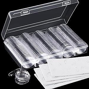 Hicarer 100 Stück 30 mm Münz Kapseln und 5 Größen (17/ 20/ 25/ 27/ 30 mm) Schützen Dichtung Münzhalter mit Aufbewahrungsbox für Münzsammlung Zubehör