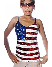 SEQUIN USA TOP - AMERICAN FLAG STARS & STRIPES U.S.A. - SMALL t-shirt blouse shirt ladies