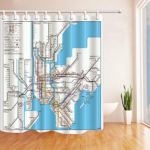 SHUHUI New York u-Bahn Karte Duschvorhang Bad Wasserdichtes Gewebe & 12 Haken 183X183CM -