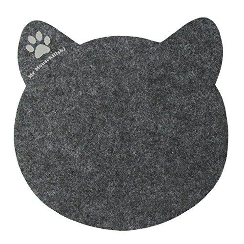 Preisvergleich Produktbild MR MOUSEKILLSKI - stylisches Mousepad aus hochwertigem Filz | perfekt für Katzenliebhaber | vielfältig einsetzbar als originelle Unterlage| hervorragende Anti-Rutsch-Beschichtung | anthrazit