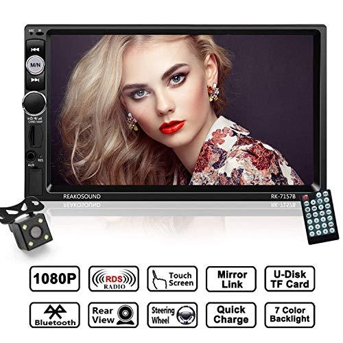Autoradio 2 Din mit 7 Zoll HD 1080P Touchscreen, LESHP Auto Radio MP5 Spieler unterstützt Mirrorlink/Bluetooth/Freisprecheinrichtung/AM/FM/RDS Radio Tuner/USB/TF/Aux in/Rückfahrkamera