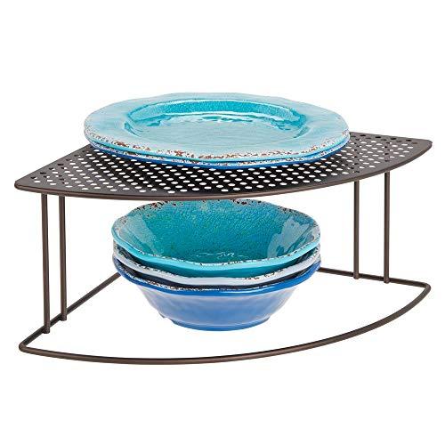 mDesign Balda de cocina - Soporte para platos redondeado para rincones de encimeras e interiores de armarios - Estante separador con dos alturas para aprovechar el espacio al máximo - color bronce