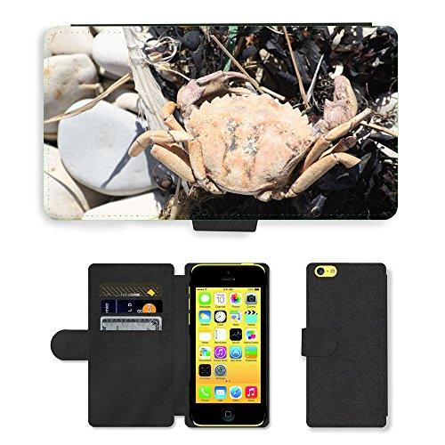 Just Mobile pour Hot Style Téléphone portable étui portefeuille en cuir PU avec fente pour carte//m00139333mer Animal/Crabe/Apple iPhone 5C