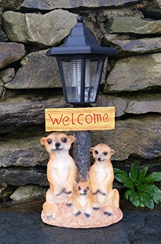 Image of Solar Powered Decorative Garden Ornament meerkat Light Up Lantern Welcome Sign