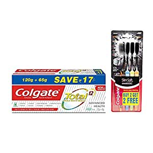 Colgate Total Deep Clean Toothpaste - 185gm with Slim Soft Charcoal Toothbrush - 4 Pcs