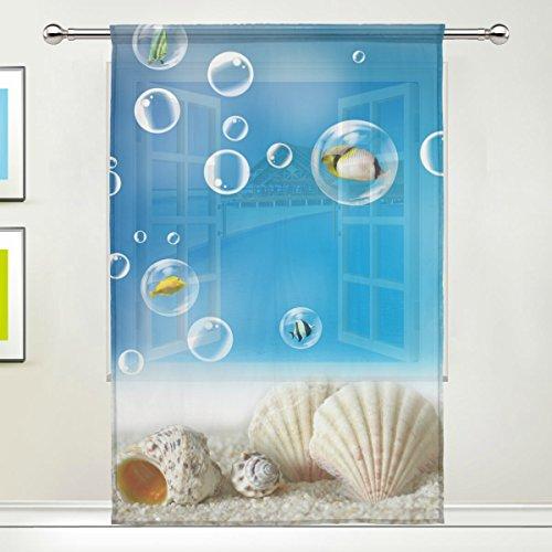 Ocean Fenster (jstel blau Strand Muscheln Ocean Blase Muster Floral Print Tüll Voile Tür Fenster Zimmer Sheer Vorhang Tuch 1Panel Schal Volants breit Breite Gaze Vorhang für Schlafzimmer 139,7x 198,1cm, Single Panel, Polyester, 55 x 84 Inch)