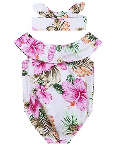 Mädchen Strampler Schwimmen (Kidsform Kinder Baby Mädchen Strampler Sommer Bodysuit Mit Rüschen Ärmel Outfits Rot 6-9M)