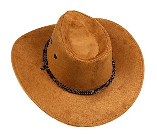 Brown Cowboy Jungen Kostüme (Kaffee Seil Western Cowboy Hat Unisex Kostüm für Kind Erwachsene Halloween Party Gr. Large,)