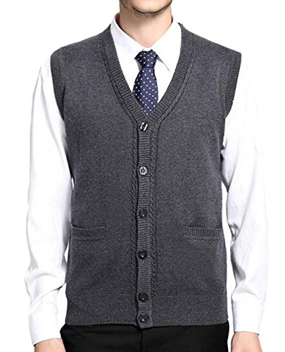 DD.UP Herren Pullunder V-Ausschnitt Solid Color Button-Down Stricken strickweste Wollweste Weste Cardigan