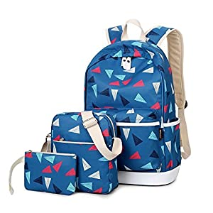 Abshoo Polyester Cute Printed Backpacks For Girls School Bookbags Teens Travel Backpack Set (Navy)