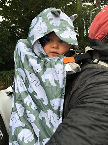 BundleBean - Wetterschutz-Cover für Babytragen & Tragetücher - Fleece-Futter (Grau-grüne Eisbären)