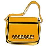 Freizeittasche mit Dresden Stadt Schriftzug Skyline Bag Base® BagBase Retro Messenger 40x30x10cm goldgelb/schwarz