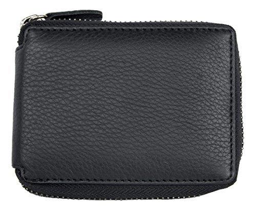 Herren Taschenformat Schwarzes Leder Portemonnaie mit Metall-Reißverschluss um