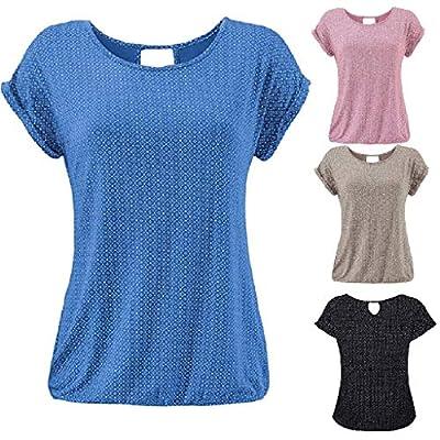 Yvelands Damen T-Shirt Rundhals Kurzarm Shirt mit Print Sommer Bluse Tops
