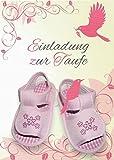 Einladungskarten Taufe Mädchen mit Innentext Motiv rosa Schuhe 20 Klappkarten DIN A6 mit weißen Umschlägen im Set Taufekarten mit Kuvert Einladung Taufe Mädchen rosa (K27)