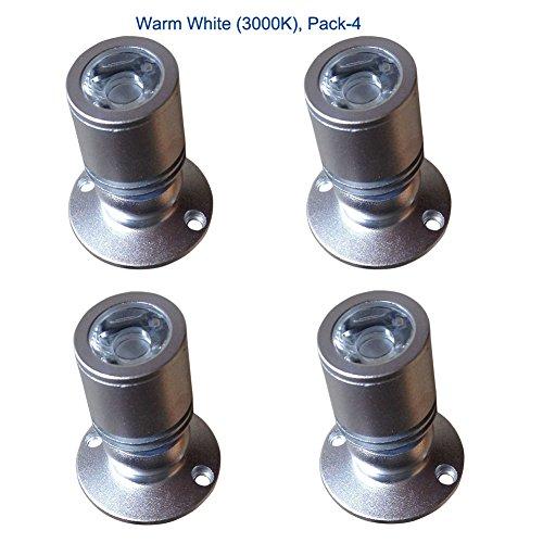 Curio China Schrank (iphd Curio Schrankleuchte 360° drehbar 1W AC 85-265V mit Trafo warmweiß 3000K mit installieren Schrauben pack-4(Silber))