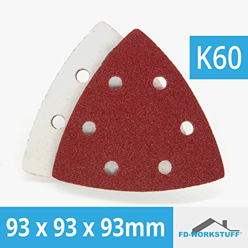 100 Stück Klett-Schleifpapier 93x93x93 Körnung 60 für Delta-Schleifer 6 Loch Korn 60