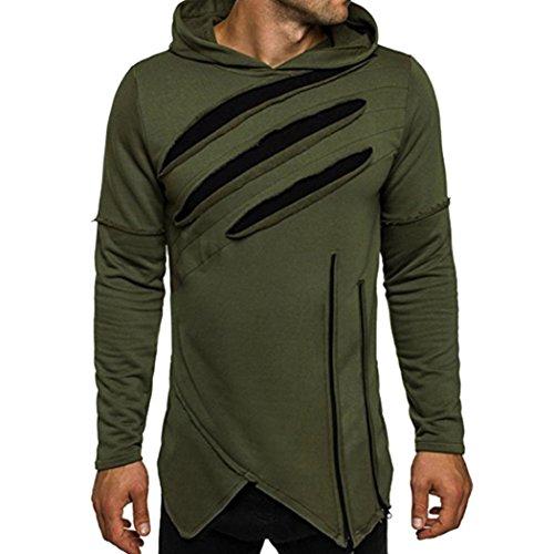 Herren Sweatshirt Dasongff Männer Langarm Kapuzenpullover mit mit Kapuze Freizeit Unregelmäßiger Shirt Pullover Sweatshirt (XL, Armee grün)