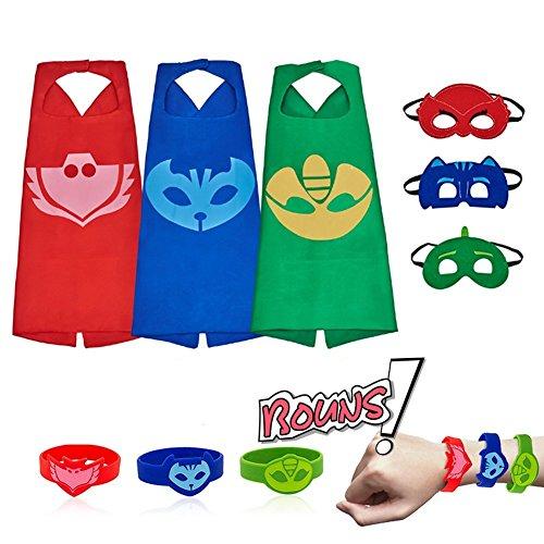 RioRand Kinder Dress up Kostüme Cartoon Umhang mit Masken, Armbänder für für Jungen Weihnachte Geburtstage Party Fasching Cosplay Costume Spielsachen 3Pack (3-Pack)
