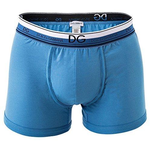 Dolce & Gabbana Herren Boxer Shorts, Regular Boxer, Stretch, Unifarben, Logobund: Farbe: Blau | Größe: L (Gr. Large)