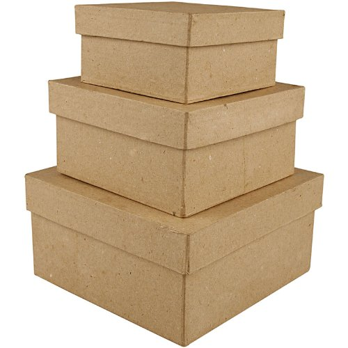 Creativ 10+12 5+15 cm Papier Mache Square Boxes 3 Assorted