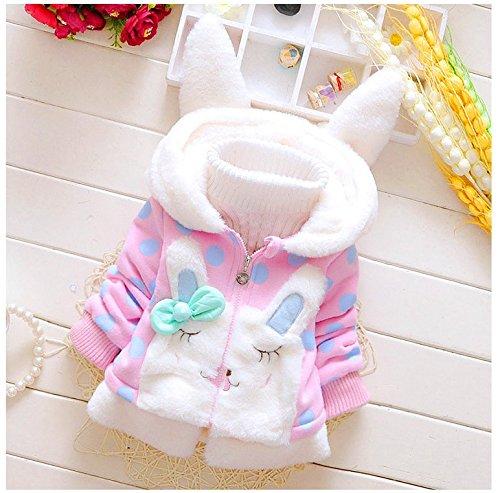Tkiames Baby Mädchen Mäntel -Jacken , Kapuzenjacke für Kaninchen Fleecefutter mit Bowknot Gefüttert Jacket 0-4 Jahre (6-12 Monate(Herstellergröße:80-86), Rosa 2)