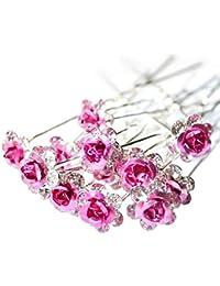Outflower - Lote de 20 horquillas para novia, con aplicaciones de cristal, diseño floral