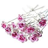 Outflower 20Pcs Femmes Bridal Clear Crystal Rhinestone Rose Flower Clips de Cheveux Accessoires pour Cheveux Jewelry Hairpins