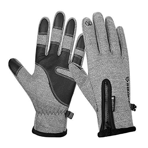 coskefy Fahrradhandschuhe Männer Winter Sport Touchscreen Motorrad Frauen Gefüttert Laufhandschuhe -10°c Winddicht mit Reißverschluss Reiten Camping Wandern Bergsteigen Outdoor Gloves (Grau, M)