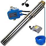 awm® Tiefbrunnenpumpe 3 Zoll AM-3STP-550-30-102 Schraubenpumpe/Screw-Funktion Tauchpumpe 550 Watt Wasserpumpe Brunnenpumpe Druckschalter AM.102 30m Kabel max. 10 bar
