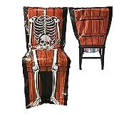Stuhl Husse Skelett mit Totenkopf Halloween Dekoration Stuhldeko Überzieher