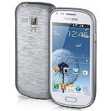 Funda protectora OneFlow para funda Samsung Galaxy Trend / Trend Plus Carcasa silicona TPU 1,5mm | Accesorios cubierta protección móvil | Funda móvil paragolpes bolso cepillado aluminio diseño en Plata