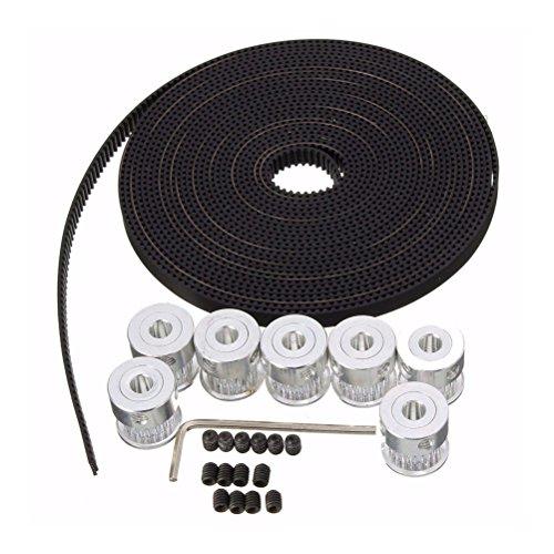 UEETEK 3D Drucker Zubehör 8ST 5mm 20-Zähne Timing Riemenscheibe Rad + 5m GT2 Zahnriemen für 3D-Drucker