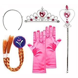 4 in 1 Girls Anna Princess Costume Accessories Set - Princess Tiara, Gloves, Magic Wand, Braid for Carnival Costume Cosplay Party