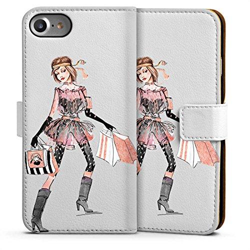 Apple iPhone 6 Silikon Hülle Case Schutzhülle Shopping Queen ohne Hintergrund Handtasche Sideflip Tasche weiß