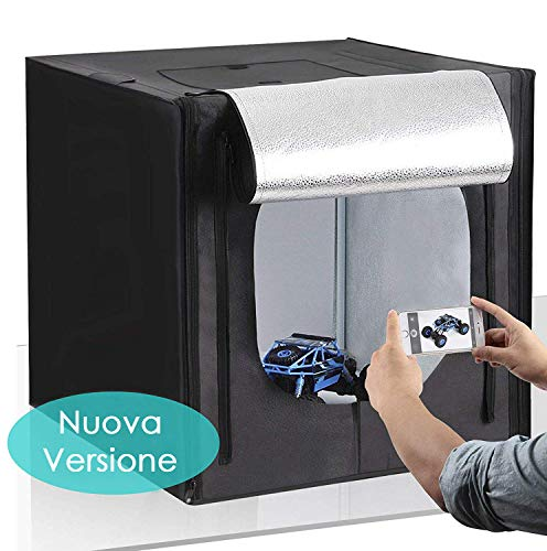 Amzdeal Kit Tenda Studio 50 x 50 cm Scatola Fotografica con Striscia LED 5500K +Panno di base in argento più 3 Panni Sfondi (Bianco, Nero, Arancione)