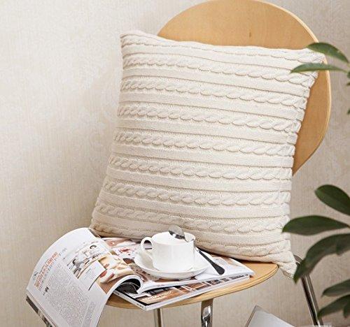 Unimall gestickt Kissenbezug Baumwolle Autokissen Sofakissen Beige/Weiß 45x45 cm