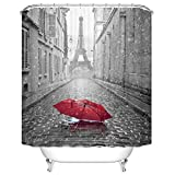 Ormis Eiffel Tower From the Street of Paris Pattern Shower Curtain 72X72 inches Mildew Resistant Polyester Fabric Bathroom Fantastic Decorations Bath Curtains