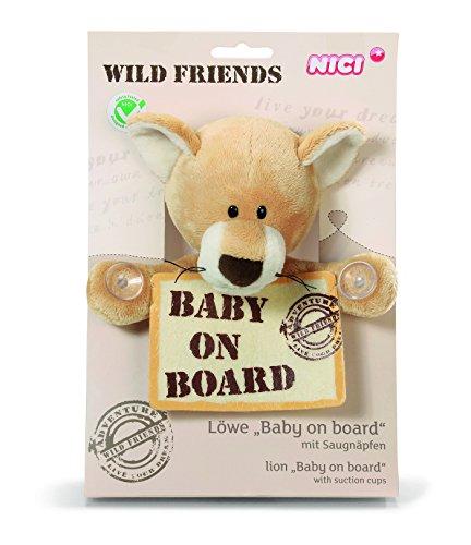 NICI 33725 - Löwenbaby mit Baby on Board Schild Wild Friends 20 cm 20 Boards