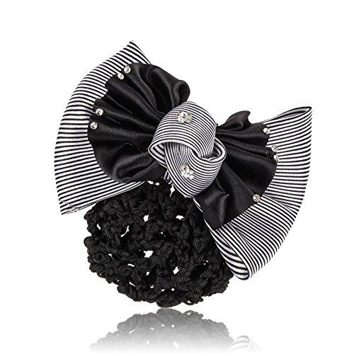 xinyiwei Frauen Professional Kopf Blume Strass Schleife Snood Haarnetz mit Französisch Haarspange (Kopf Snood)