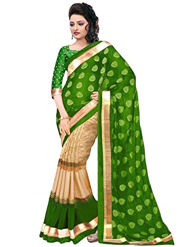 Kanchan Women's Bhagalpuri Foil Print Saree (KTJULIE GREEN_Multi Coloured)