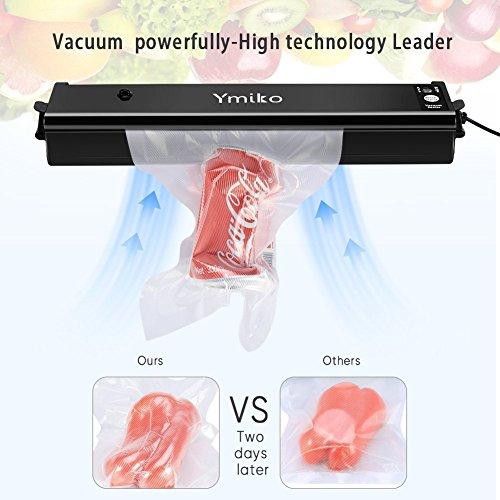 Vakuumiergerät, Ymiko Mini Vakuumierer Portable Kompakt-Vakuum-Siegel-System für Vakuum und Siegel / Siegel, Sous Vide Kochen Mufti-Funktion inklusive 20 Taschen Schwarz - 3