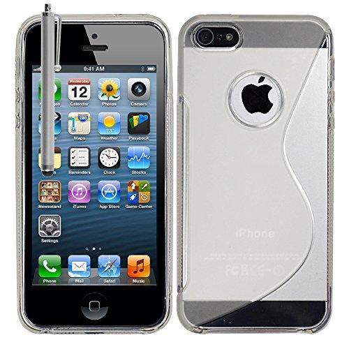 VComp-Shop® S-Line TPU Silikon Handy Schutzhülle für Apple iPhone 5/ 5S/ SE + Großer Eingabestift - TRANSPARENT TRANSPARENT + Großer Eingabestift