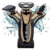 MCF Herren Elektrorasierer Rasierer 4D Rasierapparat 3 in 1 Rotationsrasierer Präzisionstrimmer Bartschneider Nasenhaarschneider Nass/Trocken Vollständig Abwaschbar (Gold)